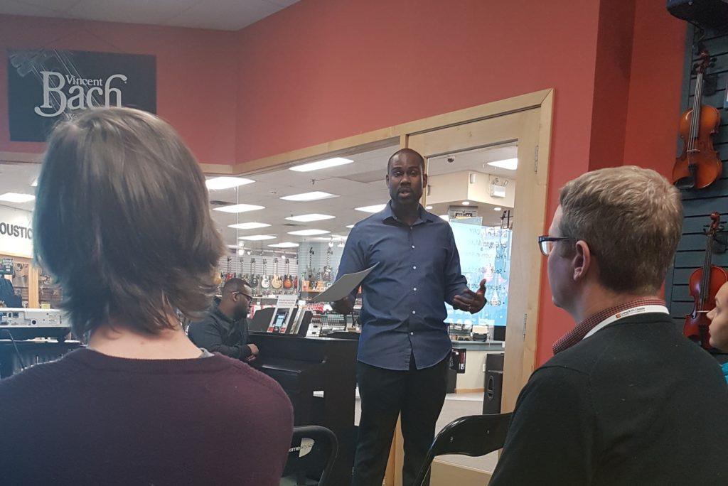 Darren Hamilton presenting a gospel music clinic at Long & McQuade Brampton store.