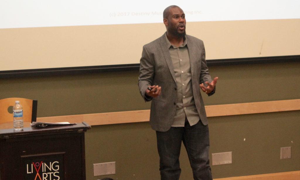 Darren Hamilton presenting a a workshop at Living Arts Centre in Mississauga.