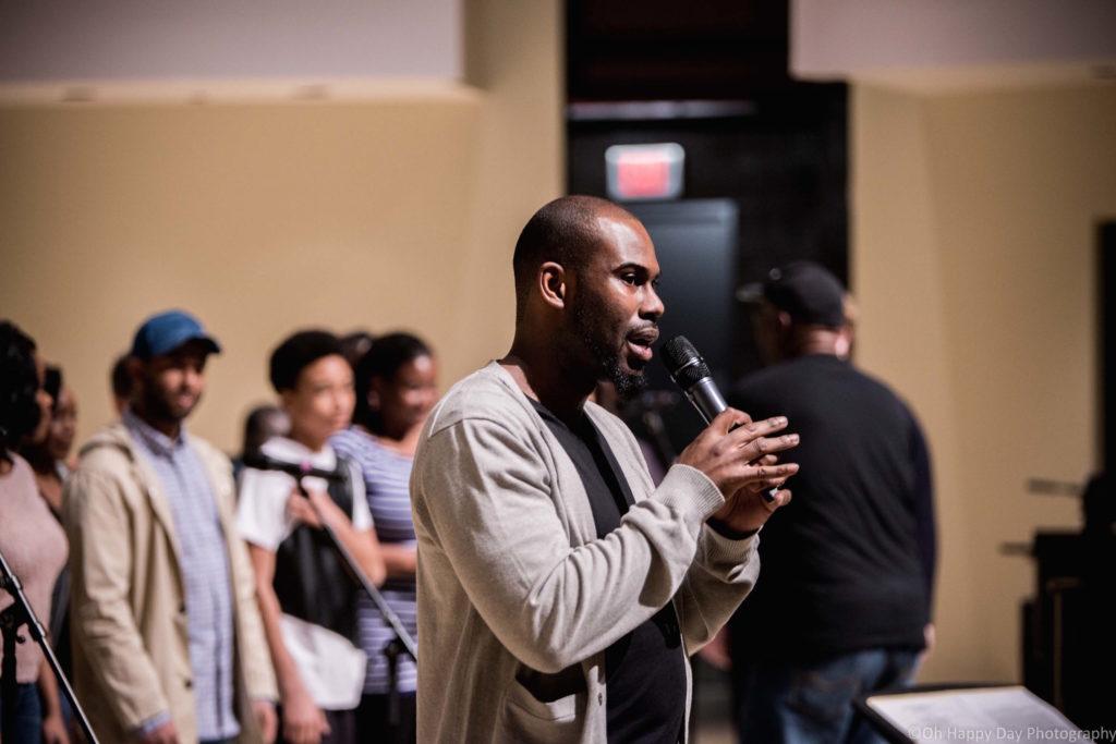Darren Hamilton directing the 2017 PowerUp Small Vocal Ensemble.